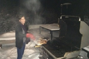 Hardy Canadians braai (barbeque) in the dead of winter!  Thanks Tedra and Jason for the awesome salmon!!
