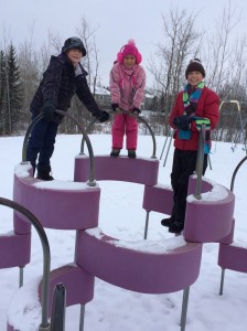 The park-deprived Waldron children didn't mind the cold winter nor the snow!  They have missed playgrounds!!!