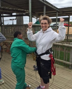 "Getting ready to ""zip"" across the gorge!"