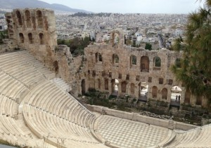 Ruins of an outdoor theatre where they still hold events in the summers.  Wouldn't that be amazing to attend?!