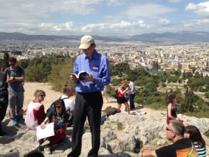 One of the men in our group reading from Acts 17 while standing on Mars Hill.  Amazing experience!!