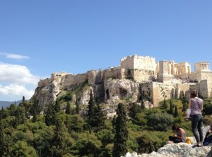 View of the parthenon from Mars Hill.
