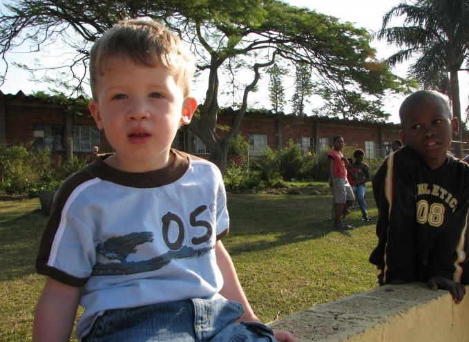 My little Nate and one of his first days at Seed of Hope