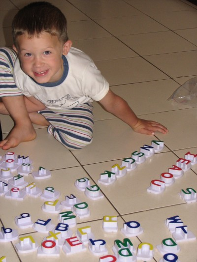 "Already learning his letters.  He loved the ""bowels.""  :-)"