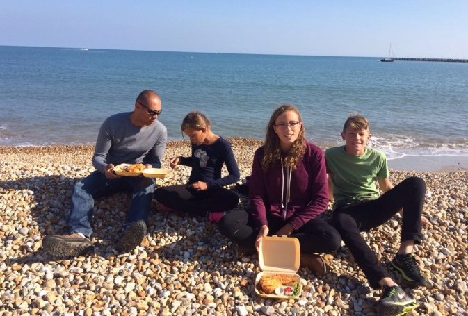 English fish and chips on a pebble beach.  So awesome!
