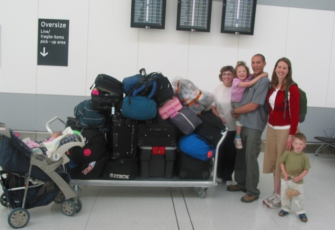 This is what we looked like in June 2007 when we moved to South Africa.  (Elise is in the stroller in the left of the photo.)